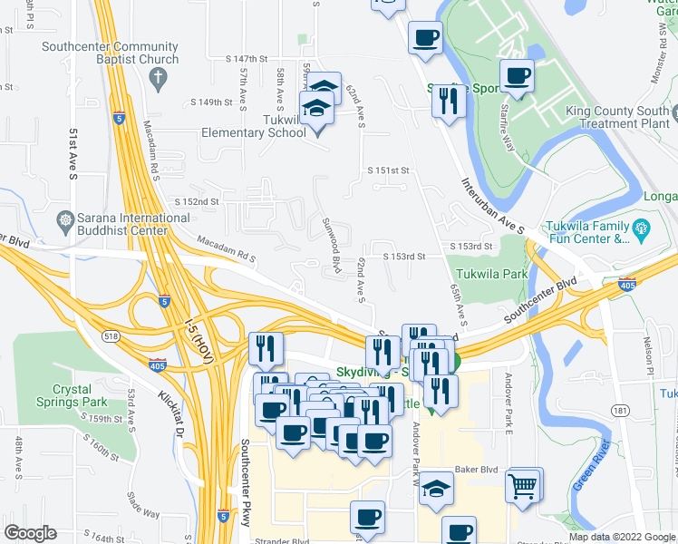 map of restaurants, bars, coffee shops, grocery stores, and more near 15345 Sunwood Boulevard in Tukwila