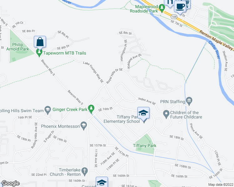 map of restaurants, bars, coffee shops, grocery stores, and more near 1413 Harrington Avenue Southeast in Renton