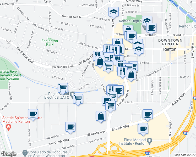 map of restaurants, bars, coffee shops, grocery stores, and more near 200 Southwest 5th Place in Renton