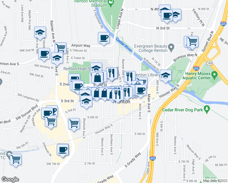 map of restaurants, bars, coffee shops, grocery stores, and more near Logan Ave S & Renton Tc Acrd in Renton