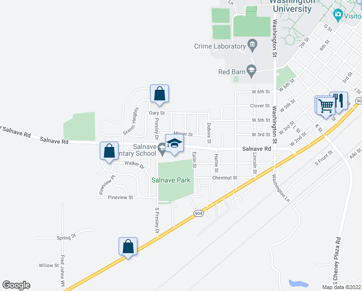map of restaurants, bars, coffee shops, grocery stores, and more near 911 Moyer Street in Cheney