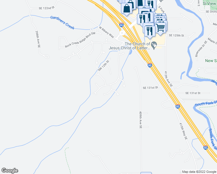 map of restaurants, bars, coffee shops, grocery stores, and more near 1345 Forster Boulevard Southwest in North Bend