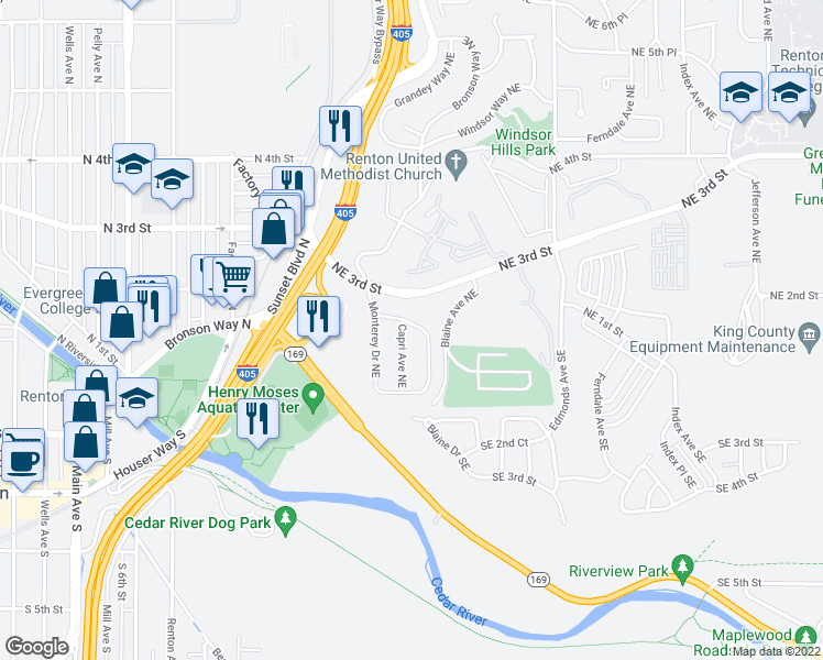 map of restaurants, bars, coffee shops, grocery stores, and more near 150 Capri Avenue Northeast in Renton
