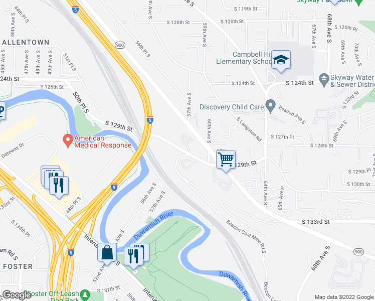 map of restaurants, bars, coffee shops, grocery stores, and more near 12805 Martin Luther King Junior Way South in Seattle