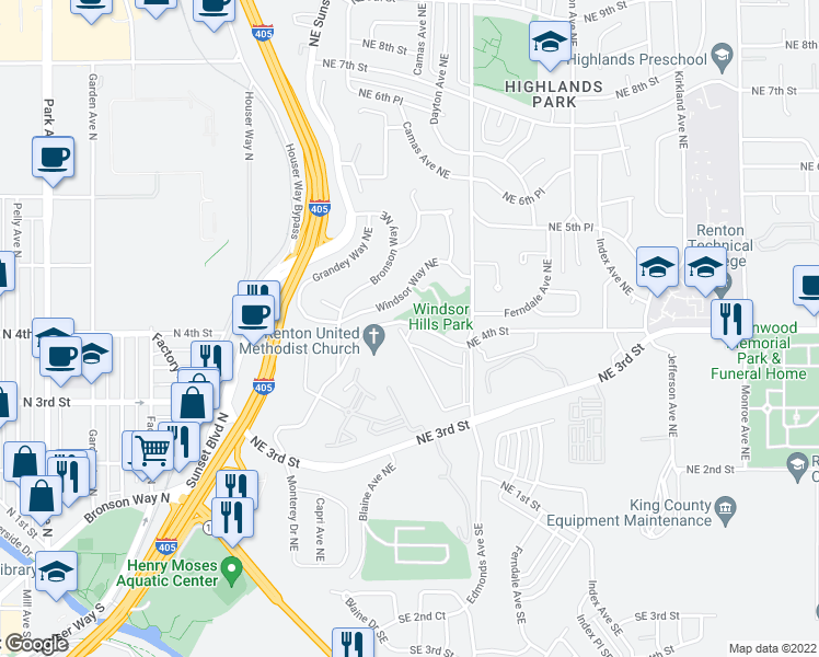 map of restaurants, bars, coffee shops, grocery stores, and more near 2203-2305 Northeast 4th Street in Renton