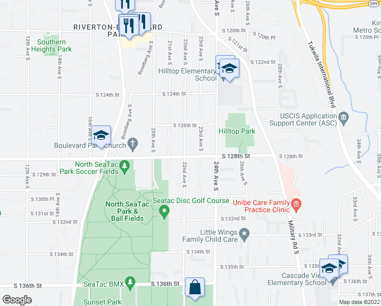 map of restaurants, bars, coffee shops, grocery stores, and more near 2212 South 128th Street in SeaTac