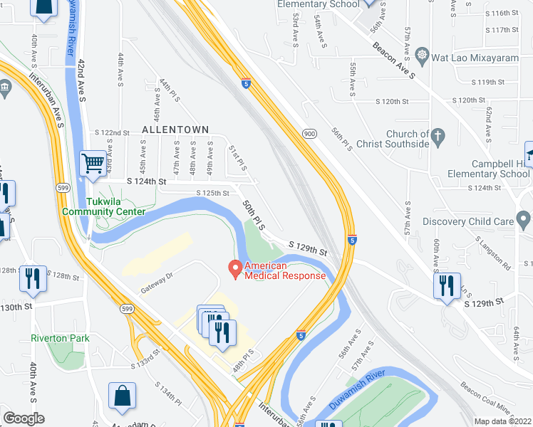 map of restaurants, bars, coffee shops, grocery stores, and more near 12529 51st Place South in Tukwila