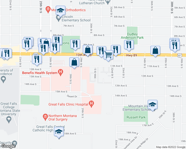 map of restaurants, bars, coffee shops, grocery stores, and more near 3010 11th Avenue South in Great Falls