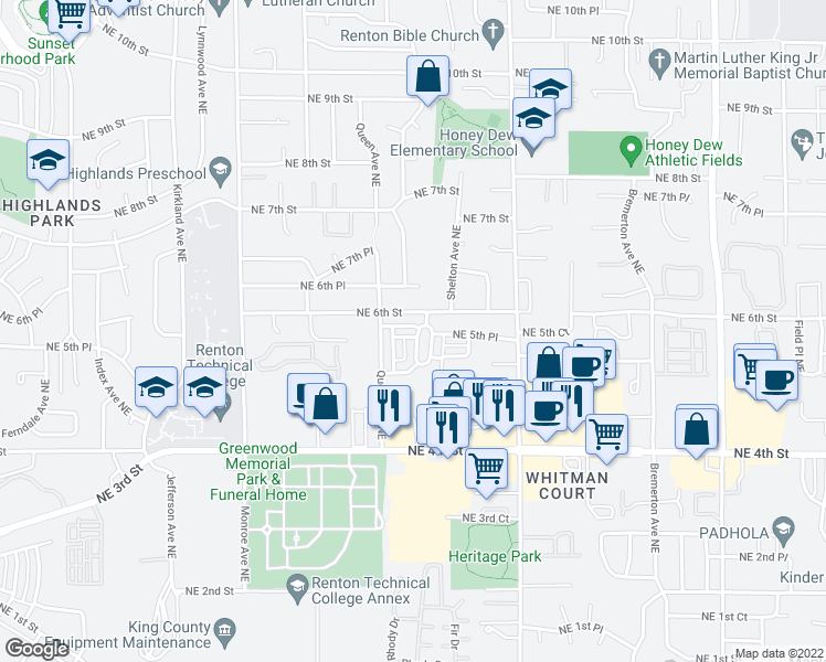 map of restaurants, bars, coffee shops, grocery stores, and more near 3740 Northeast 5th Place in Renton