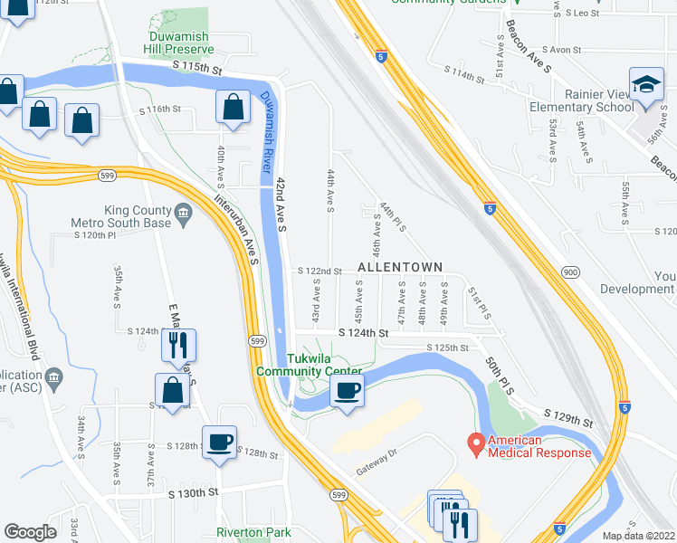map of restaurants, bars, coffee shops, grocery stores, and more near 44th Ave S & S 122nd St in Tukwila