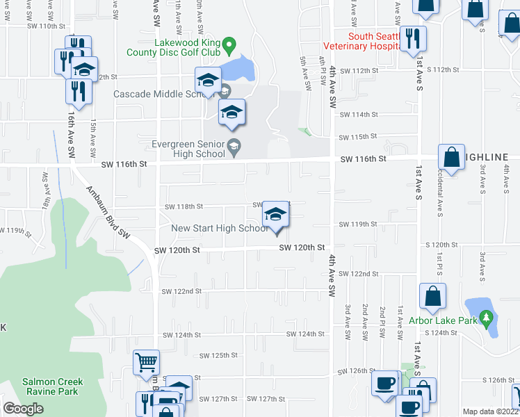 map of restaurants, bars, coffee shops, grocery stores, and more near 713 Southwest 118th Street in Seattle
