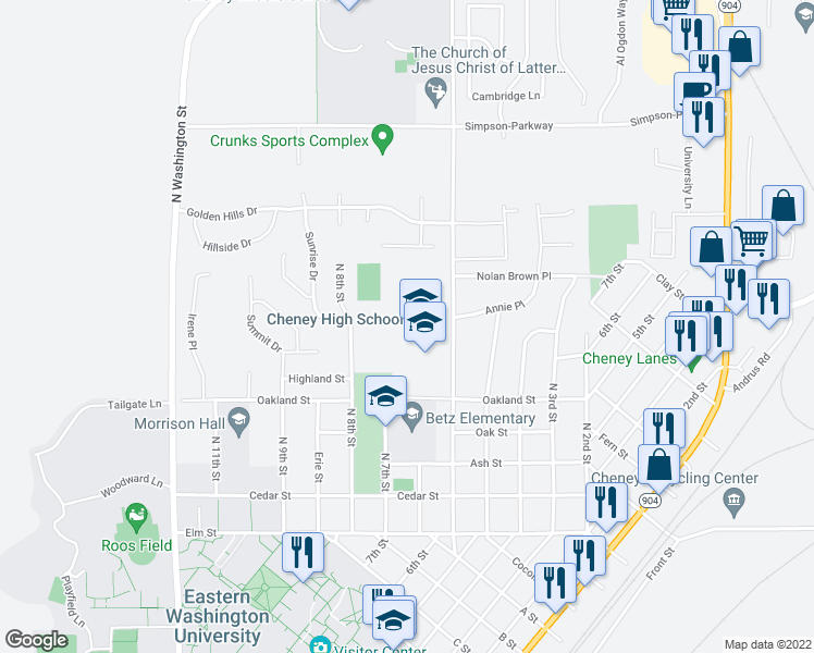 map of restaurants, bars, coffee shops, grocery stores, and more near 460 North 6th Street in Cheney
