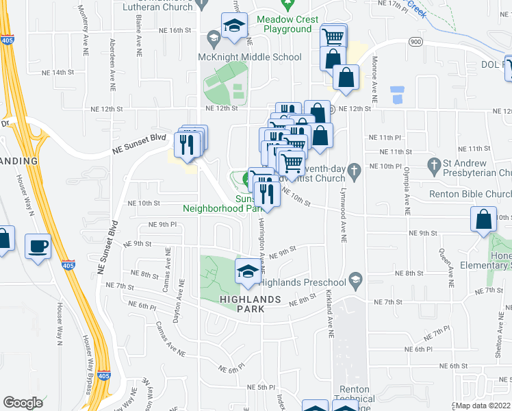map of restaurants, bars, coffee shops, grocery stores, and more near 965 Harrington Avenue Northeast in Renton