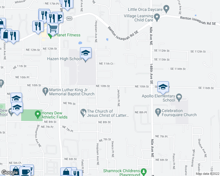 map of restaurants, bars, coffee shops, grocery stores, and more near 5251 Northeast 10th Street in Renton