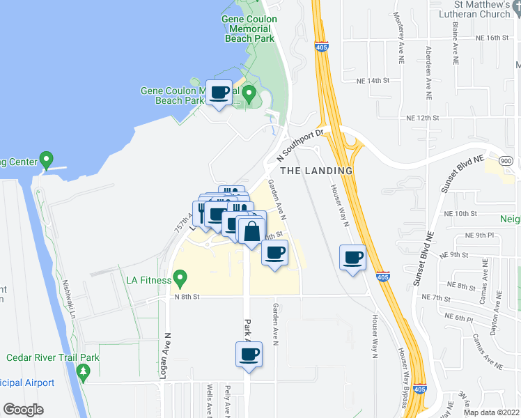 map of restaurants, bars, coffee shops, grocery stores, and more near 1202 North 10th Place in Renton
