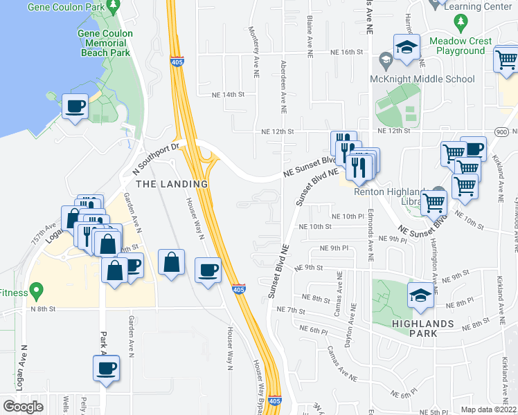 map of restaurants, bars, coffee shops, grocery stores, and more near 975 Aberdeen Avenue Northeast in Renton