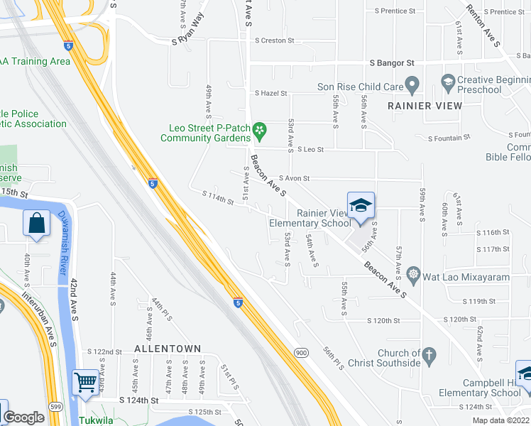 map of restaurants, bars, coffee shops, grocery stores, and more near South Augusta Street in Seattle