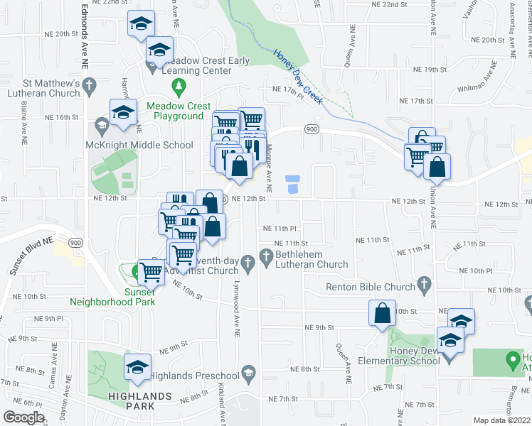 map of restaurants, bars, coffee shops, grocery stores, and more near 1160 Monroe Avenue Northeast in Renton