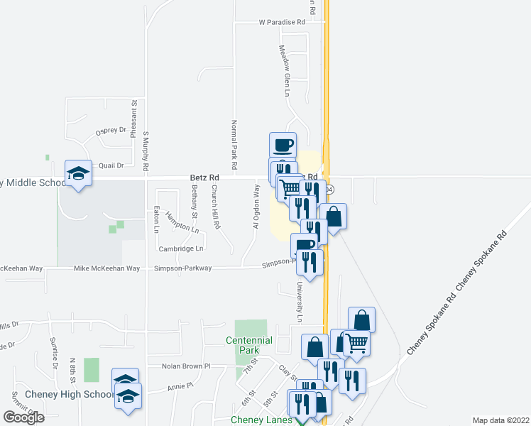 map of restaurants, bars, coffee shops, grocery stores, and more near 2701 Al Ogdon Way in Cheney