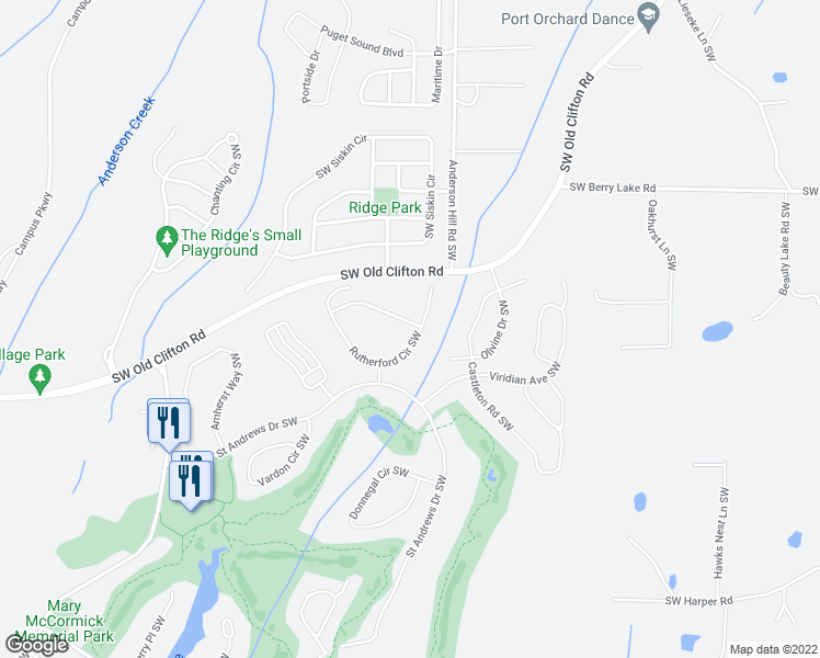 map of restaurants, bars, coffee shops, grocery stores, and more near 4602 Rutherford Circle Southwest in Port Orchard