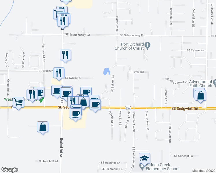 map of restaurants, bars, coffee shops, grocery stores, and more near 4655-4667 Southeast Bakken Court in Port Orchard