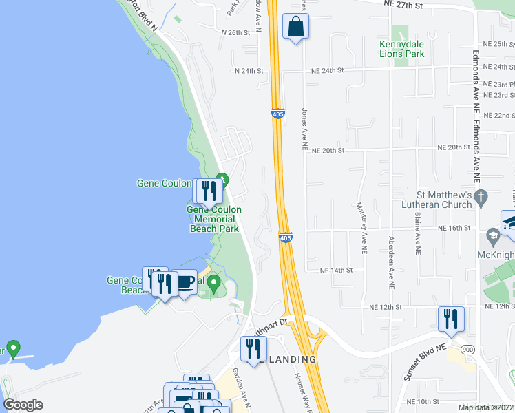 map of restaurants, bars, coffee shops, grocery stores, and more near 1400 Lake Washington Boulevard North in Renton