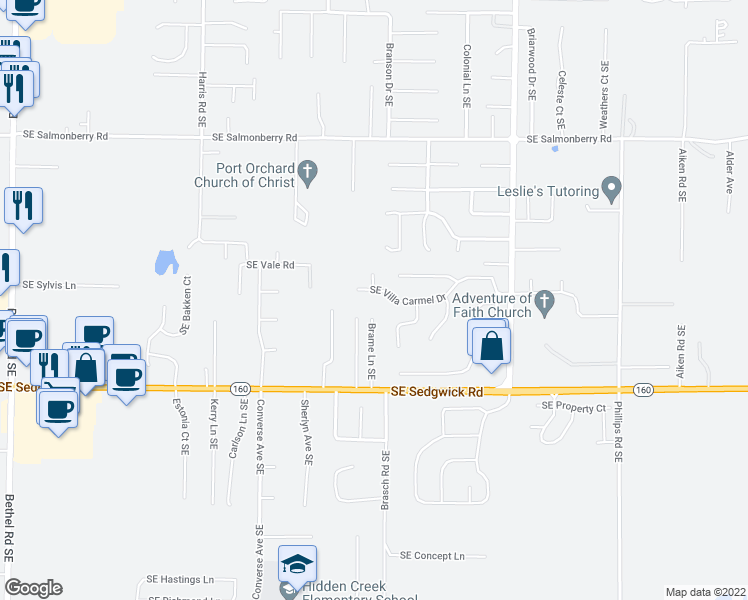 map of restaurants, bars, coffee shops, grocery stores, and more near 2955 Pancho Villa Place Southeast in Port Orchard