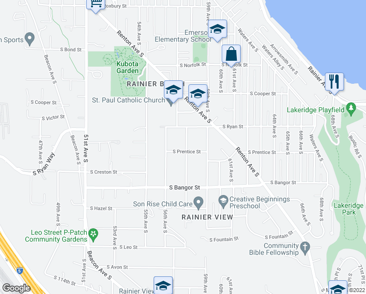 map of restaurants, bars, coffee shops, grocery stores, and more near 10241 57th Avenue South in Seattle