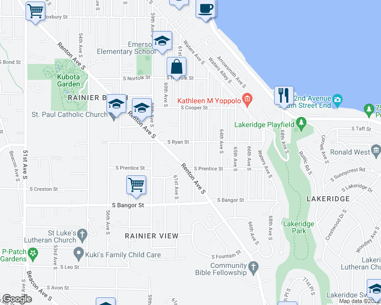 map of restaurants, bars, coffee shops, grocery stores, and more near 10219 62nd Avenue South in Seattle