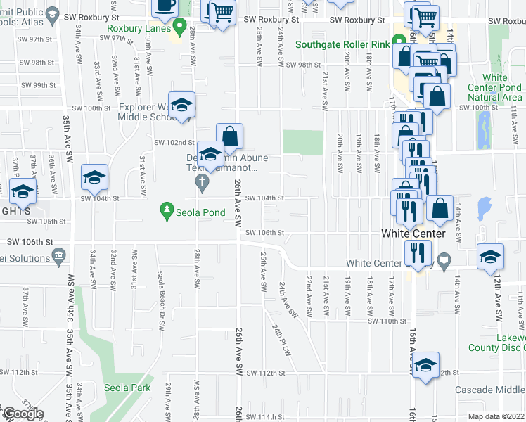 map of restaurants, bars, coffee shops, grocery stores, and more near 10406 25th Avenue Southwest in Seattle