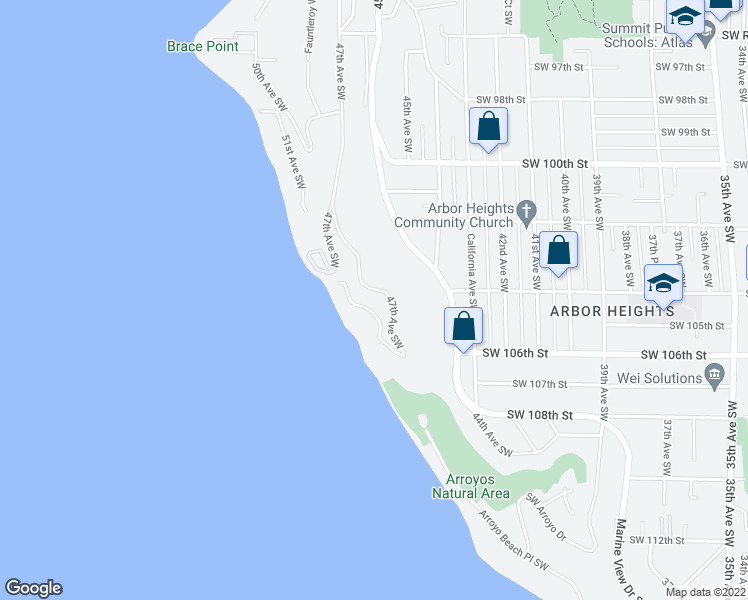 map of restaurants, bars, coffee shops, grocery stores, and more near 10405 47th Avenue Southwest in Seattle