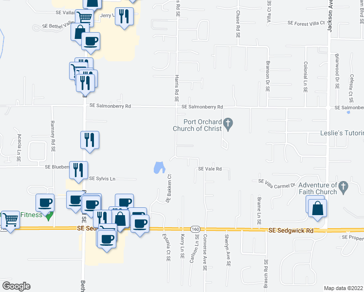 map of restaurants, bars, coffee shops, grocery stores, and more near 4154-4166 Harris Road Southeast in Port Orchard