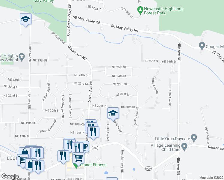 map of restaurants, bars, coffee shops, grocery stores, and more near 2220 Field Avenue Northeast in Renton