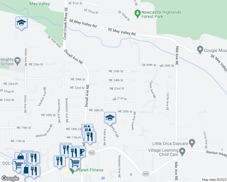 map of restaurants, bars, coffee shops, grocery stores, and more near 5035 Northeast 23rd Street in Renton