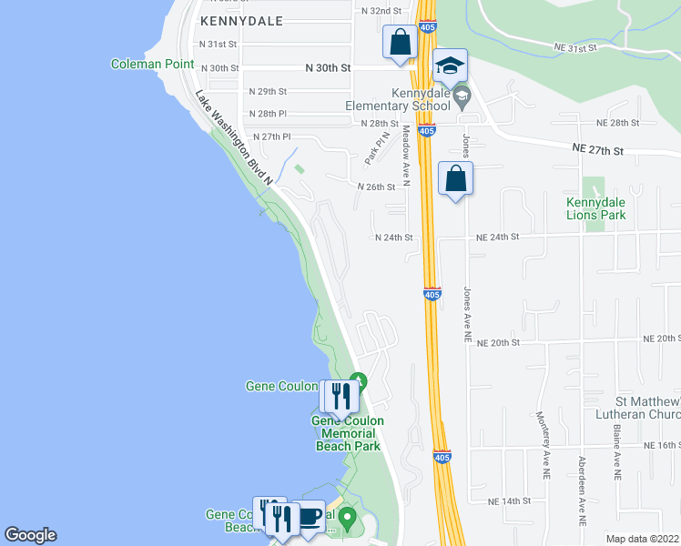 map of restaurants, bars, coffee shops, grocery stores, and more near 2100 Lake Washington Boulevard North in Renton