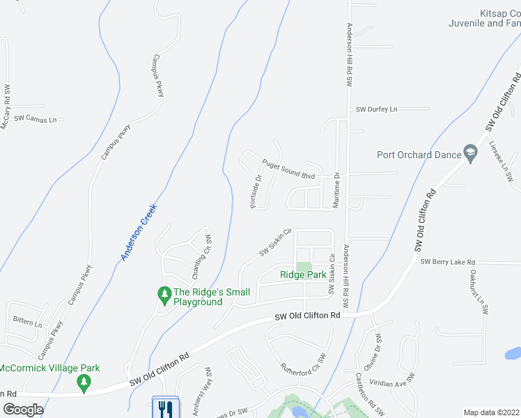 map of restaurants, bars, coffee shops, grocery stores, and more near 3930 Portside Drive in Bremerton