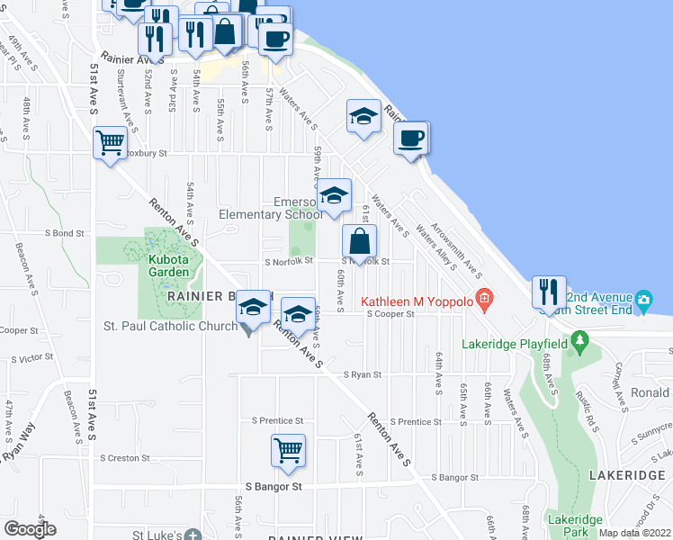 map of restaurants, bars, coffee shops, grocery stores, and more near 9809 60th Avenue South in Seattle