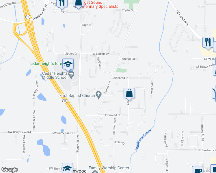 map of restaurants, bars, coffee shops, grocery stores, and more near 102 Goldenrod Street in Port Orchard