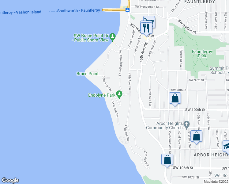 map of restaurants, bars, coffee shops, grocery stores, and more near 9680 50th Avenue Southwest in Seattle