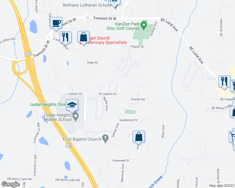 map of restaurants, bars, coffee shops, grocery stores, and more near 131 West Lippert Drive in Port Orchard