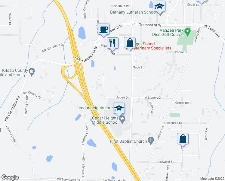 map of restaurants, bars, coffee shops, grocery stores, and more near 331-349 Lippert Drive in Port Orchard
