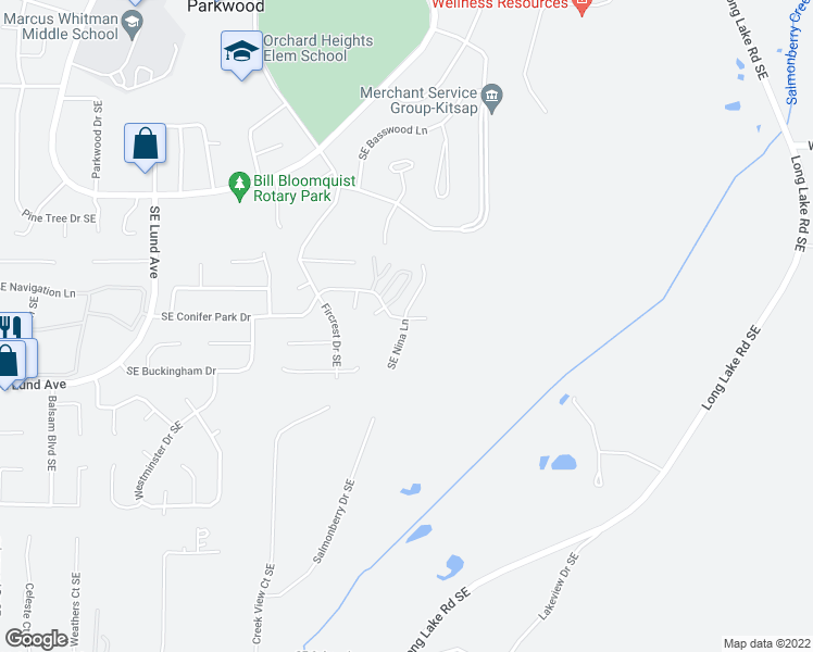 map of restaurants, bars, coffee shops, grocery stores, and more near 4698 Southeast Conifer Park Drive in Port Orchard