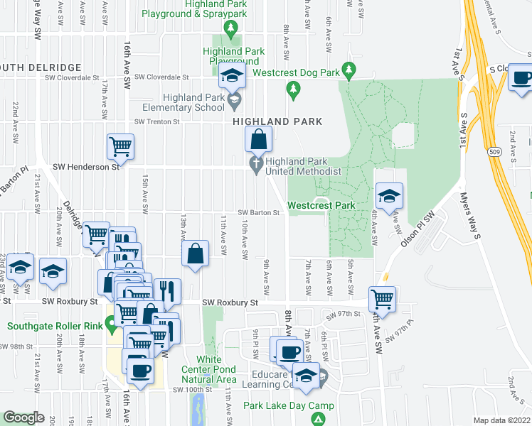map of restaurants, bars, coffee shops, grocery stores, and more near SW Barton St & 9th Ave SW in Seattle