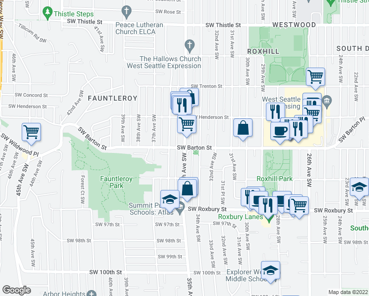 map of restaurants, bars, coffee shops, grocery stores, and more near 35th Avenue Southwest & Southwest Barton Street in Seattle