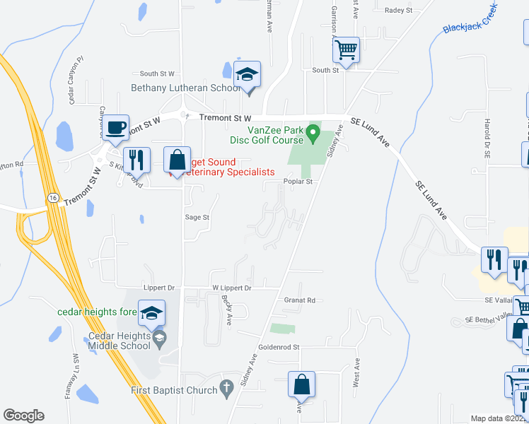 map of restaurants, bars, coffee shops, grocery stores, and more near 1800 Sidney Avenue in Port Orchard