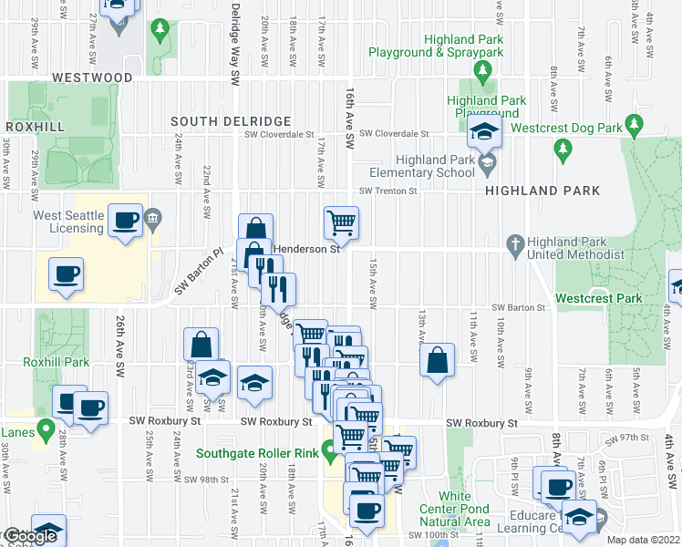 map of restaurants, bars, coffee shops, grocery stores, and more near 9027 16th Ave SW in Seattle