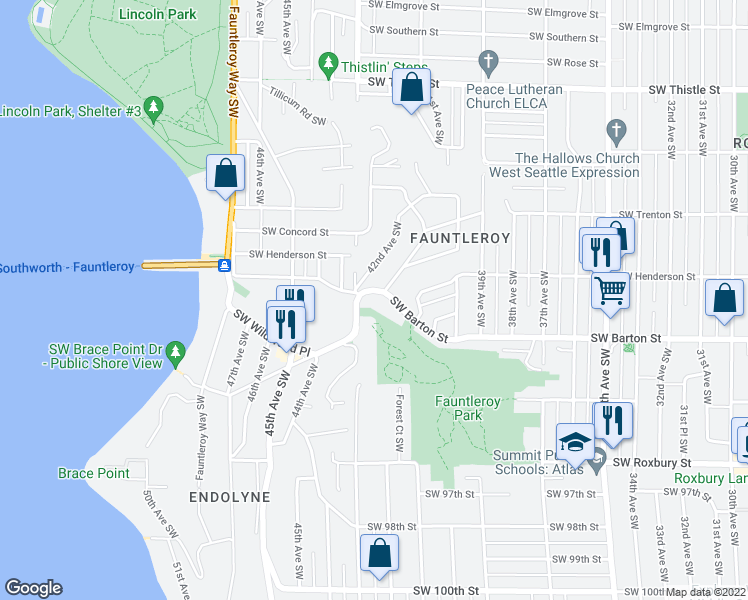 map of restaurants, bars, coffee shops, grocery stores, and more near 4109 Southwest Barton Street in Seattle
