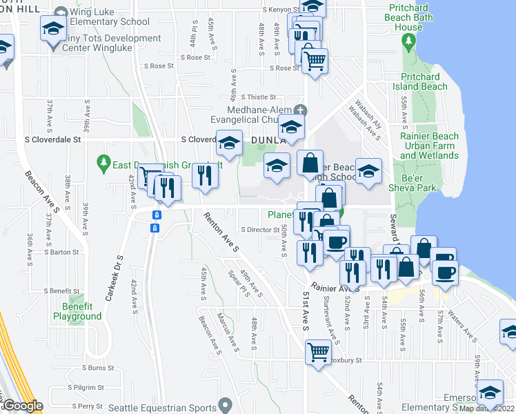 map of restaurants, bars, coffee shops, grocery stores, and more near 4629 S Henderson St in Seattle