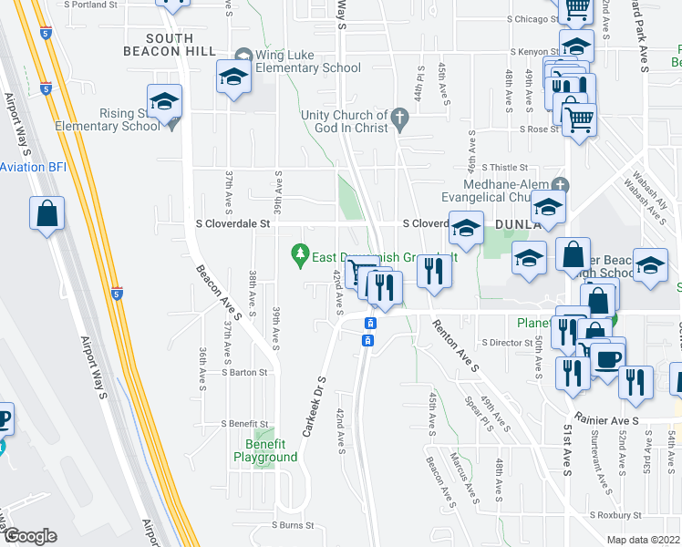 map of restaurants, bars, coffee shops, grocery stores, and more near 8722 42nd Avenue South in Seattle