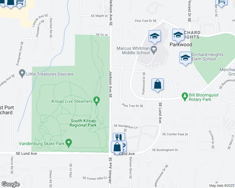 map of restaurants, bars, coffee shops, grocery stores, and more near 2598 Pine Tree Drive Southeast in Port Orchard
